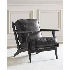 Landon Leather Chair (34,140 THB) ❤ liked on Polyvore featuring home, furniture, chairs, ebony, black leather furniture, black chair, leather furniture, black furniture and handmade furniture