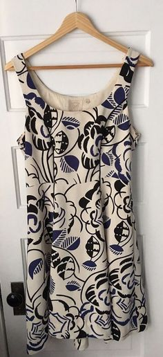 "Vanessa Virginia for Anthropologie Ink Set Blooms dress in ivory, black and blue. Size 6. Strap width: 1.5"". Waist: 14.25"" (flat).   eBay!"