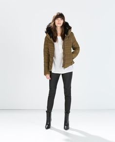 Image 1 of SHORT ANORAK WITH FUR COLLAR from Zara