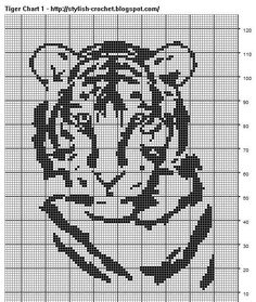 Filet Crochet Tiger - Chart 1 Pattern by Teresa Richardson Chain 292. Chain 3 to to turn which will count as the first double crochet. Below...