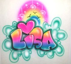 Beautiful bright rainbow & heart design with a bubble letter style name.Great for gifts, parties, giveaways, & more! Check out our upgrade categories art Airbrushed Rainbow Heart and Personalized Bubble Letter Name for T-Shirts, Sweatshirts & More! Graffiti Words, Graffiti Drawing, Graffiti Alphabet, Graffiti Wall, Grafitti Letters, Airbrush Designs, Airbrush Art, Dark Fantasy Art, Name Design Art