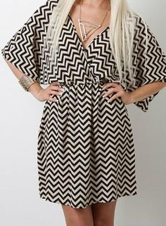 ivory and black mini chevron dress