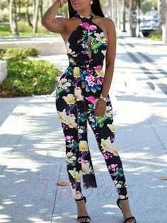 ffaaa810834 Flower Print Backless Tight Womens Jumpsuits Backless Jumpsuit