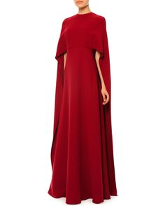 Red Valentino Jewel-Neck Half-Sleeve Capelet Gown, Red, Women's, Size: 4