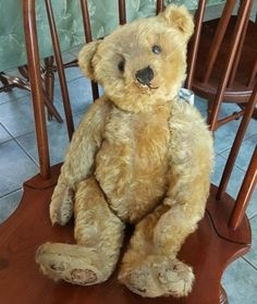 Early-Antique-Steiff-Mohair-Bear-20-Straw-Filled-Jointed