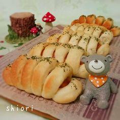 *レンジ発酵*1時間でウィンナーパン♪。