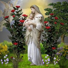 virgin holding the lamb - Google Search Mother Mary, Lamb, Statue, God, Color, Dios, Virgin Mary, Colour, Blessed Virgin Mary