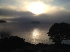 The ferry in fog on a beautiful, chilly morning