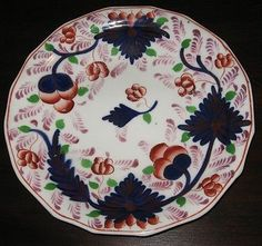 """19th Century Gaudy Welsh / Pink Luster Ware Plate in The Grape Pattern 8-1/4"""" Diameter 