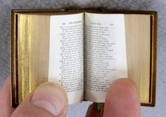 Published in 1878, in a print run of only 1000, is this tiny book that measures 2 1/8″ by 1 1/4″ (54 x 32mm).  La Divina Commedia by Danté Alighieri, a bibliopegic gem, was once one of the most renowned miniature books ever produced.