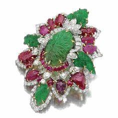 Ruby, emerald and diamond brooch, David Webb | Lot | Sotheby's