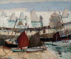 """""""The Old Lighthouse and Fleets of St. Ives, Cornwall,"""" Richard Hayley Lever, ca. 1915, oil on canvas, 50 x 60"""", Vallejo Gallery."""