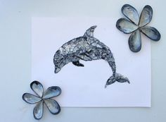 Mosaic dolphin shell art dolphin art shell art by AegeanDrawn