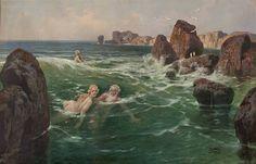 Badende (Nereiden) in Meeresbrandung by Georg Janny
