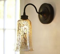 Brantley Antique Mercury Glass Sconce #potterybarn (Wondering if I could upcycle a light to make it look like this.