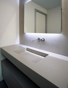 Minimalist bathroom, custom sink in cristalplant by Antonio Lupi _ - Dream Homes