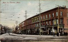 Alkalol was first formulated at the A. Barker Pharmacy, located at 19 Main Street in Taunton, MA. This postcard of Main Street is from Main Street, Street View, Famous Outlaws, Commonwealth Of Massachusetts, Mobsters, Gangsters, Pharmacy, Decay, Maine