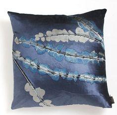 Gorgeous botanical blue Aviva Stanoff pillow. This is simply a piece of art! (www.kadamsfd.com) #monacoblue #avivastanoff