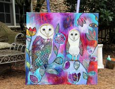 Large 36x36 Modern Intuitive Painting Always my Baby Barn Owl painting. Acrylic on stretched canvas. This is the add to my current series and an owl just happened to find its way into the painting (on the left) and then I added the baby. Both of my daughters have flown the nest and I miss them!! This ships flat via FEDEX or UPS in the continental US only. It is oversized, so they charge extra. Thank you for looking