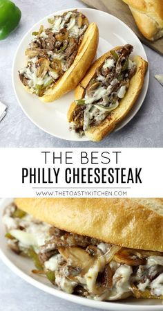 Sandwich Recipes 61973 Best Philly Cheesesteak - The Toasty Kitchen - This Best Philly Cheesesteak recipe is made with ribeye steak, bell peppers, onions, and mushrooms. Covered in melted cheese and served on a toasted hoagie roll. Gourmet Sandwiches, Steak Sandwich Recipes, Steak Cheese Sandwich, Philly Cheese Steak Meat, Sandwiches For Dinner, Philly Steak Sandwich, Steak And Cheese Sub, Hoagie Sandwiches, Sandwich Recipes
