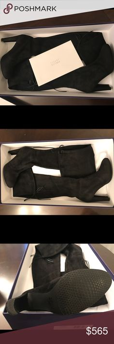 Stuart Weitzman boots Authentic! Stuart weitzman highland boots in black suede. Purchased from the Stuart weitzman store last Christmas. Only worn twice and are in really great condition; basically brand new! The boots are amazing and I love them, i just prefer something with a little bit of a higher heel. Stuart Weitzman Shoes