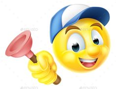 Buy Plumber Emoji Emoticon with Plunger by Krisdog on GraphicRiver. Cartoon emoji emoticon smiley face plumber character holding a sink or toilet plunger Graphic Design Typography, Graphic Design Art, Character Inspiration, Character Art, Funny Emoticons, Emoji Faces, Smiley Faces, Writing Characters, Cartoon Characters