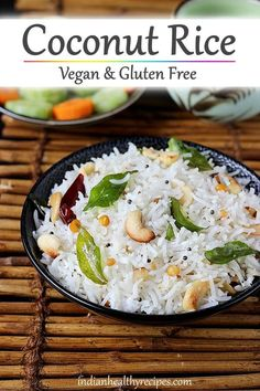 Coconut Rice coconut rice is a simple dish made by tempering fresh coconut & rice with spices. Make it for a quick dinner with some curry. Rice Recipes, Indian Food Recipes, Asian Recipes, Vegetarian Recipes, Cooking Recipes, Cooking Beef, Indian Snacks, Cooking Tips, Nasi Lemak