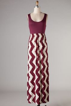 Remix Chevron Maxi Dress- Maroon
