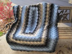 Bavarian Rectangular Crocheted Afghan. $180.00, via Etsy.  Gee I like but might chge colors!  As is,  it matches perfectly!!!!!!
