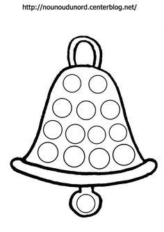 Coloriage cloche de Pâques pour gommettes par nounoudunord