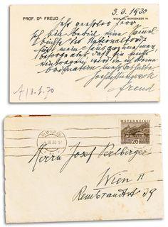 Sigmund Freud, Letter card, 1930. Vienna. Koller auctions