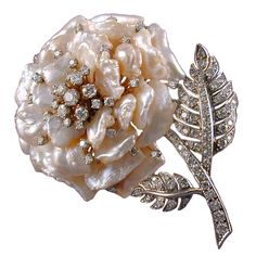RUSER Fresh Water Pearl Diamond Flower Brooch | From a unique collection of vintage brooches at https://www.1stdibs.com/jewelry/brooches/brooches/