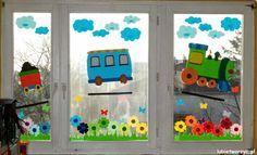 Pociąg i łąka, czyli wiosenna dekoracja okienna ;)  #pociag   #przedszkole…