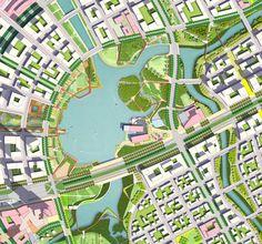 THU THIEM NEW URBAN AREA Landscape Architecture Drawing, Architecture Sketchbook, Futuristic Architecture, Architecture Plan, Urban Design Plan, Plan Design, Site Development Plan, City Layout, Interior Design Sketches