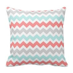 Teal Coral Gray Chevrons Pattern Monogram Pillow - these are possible colors I'm thinking for the baby room Chevron Gris, Chevrons, Teal Coral, Teal And Grey, Monogram Pillows, Custom Pillows, Chevron Pillow, Coral Pillows, Girls Bedroom