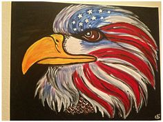 Patriotic Eagle Hand Painted on 16x20 Canvas by ODsGirl on Etsy, $25.00
