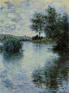 The Seine at Vetheuil - Claude Monet.  This Guy has to be Famous, he's just that good,   Joke Guys, I worship at the Altar of the Impressionists