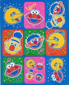 Stickers Vintage 2 sheets Henson SESAME STREET  A1-11 #Henson #Stickers