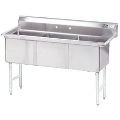 "Advance Tabco 50"" x 21"" Triple Fabricated Bowl Scullery Sink"