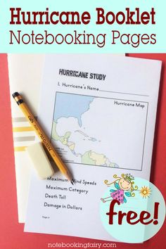 FREE Hurricane Booklet Notebooking Pages from the Notebooking Fairy Science Experiments Kids, Science Lessons, Lessons For Kids, Science For Kids, Science Projects, Weird Science, Science Curriculum, Homeschool Curriculum, Science Education