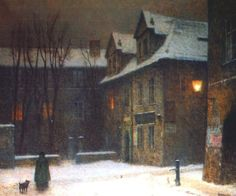 Maltese Square in Fog, oil on canvas by Jakub Schikaneder, (Czech, 1855-1924)