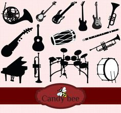 Items similar to Music Instruments Silhouette digital clipart- on Etsy Silhouette Clip Art, Vector Design, Paper Cutting, Craft Projects, Bee, My Etsy Shop, Music Instruments, Unique Jewelry, Handmade Gifts