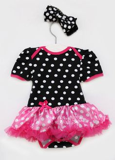 Infant Baby Girls Newborn Headband+Romper Bodysuit Skirt Tutu Clothes Set Polka #DressyEverydayHoliday