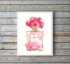 Perfume Inspired print with watercolor, with gold effect - Dimensions: select from drop down menu - 8x10 inches 12x16 inches, 12x18 inches,16x20 inches,18x24 inches - image shown is 8x10 / 16x20 dimensions. - 24x36 inches is available, please message for new listing. - Printed on archival, acid-free paper. - Museum-quality posters made on thick, durable, matte paper. - Most art comes with Signature on. - If you like an item in my shop but would like a different colour or style, just send...
