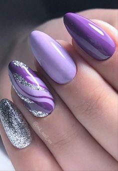 Purple Manicure, Purple Acrylic Nails, Purple Nail Art, Purple Nail Designs, Manicure E Pedicure, Best Acrylic Nails, Nail Art Designs, Purple Nails With Design, Dark Green Nails