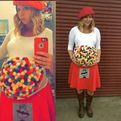 Gumball machine costume for Halloween! #pregnancy #pregnant
