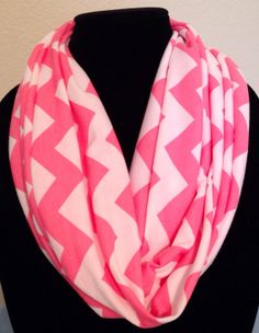 Pink and white Chevron Infinity Scarf by niftynell on Etsy, $13.99