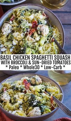 Nutritious Snack Tips For Equally Young Ones And Adults Basil Chicken Spaghetti Squash With Broccoli, Sun-Dried Tomatoes, Spinach, And Feta - An Easy Paleo, Dinner Recipe That Is Comforting Yet Clean Whole30 Dinner Recipes, Paleo Dinner, Paleo Recipes, Cooking Recipes, Clean Recipes, Basil Recipes, Paleo Chicken Recipes, Paleo Food, Huhn Spaghetti