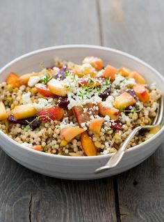 Peach and Roasted Vegetable Salad // via love & olive oil