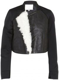 3.1 phillip lim short leather jacket with shearling draped in the front - so crazy about this!    www.insbuyr.com